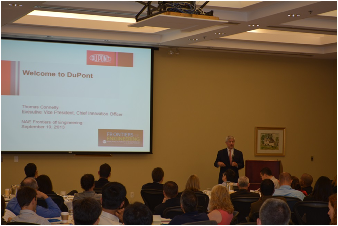 DuPont Executive Vice President and Chief innovation Officer Dr. Tom Connelly welcomes participants to the 2013 U.S. NAE Frontiers of Engineering conference at the Hotel DuPont on September 19th
